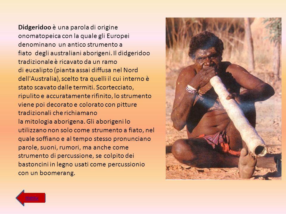 Didgeridoo è una parola di origine onomatopeica con la quale gli Europei denominano un antico strumento a fiato degli australiani aborigeni. Il didgeridoo tradizionale è ricavato da un ramo di eucalipto (pianta assai diffusa nel Nord dell Australia), scelto tra quelli il cui interno è stato scavato dalle termiti. Scortecciato, ripulito e accuratamente rifinito, lo strumento viene poi decorato e colorato con pitture tradizionali che richiamano la mitologia aborigena. Gli aborigeni lo utilizzano non solo come strumento a fiato, nel quale soffiano e al tempo stesso pronunciano parole, suoni, rumori, ma anche come strumento di percussione, se colpito dei bastoncini in legno usati come percussionio con un boomerang.