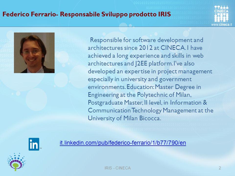 Federico Ferrario- Responsabile Sviluppo prodotto IRIS