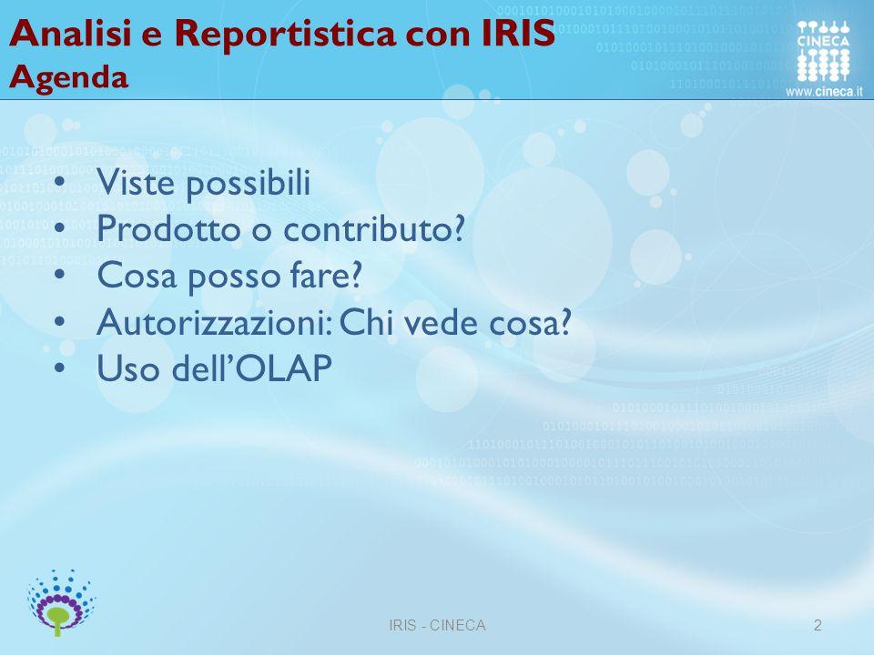 Analisi e Reportistica con IRIS Agenda