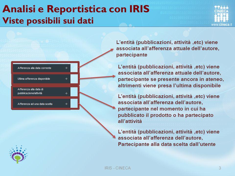 Analisi e Reportistica con IRIS Viste possibili sui dati
