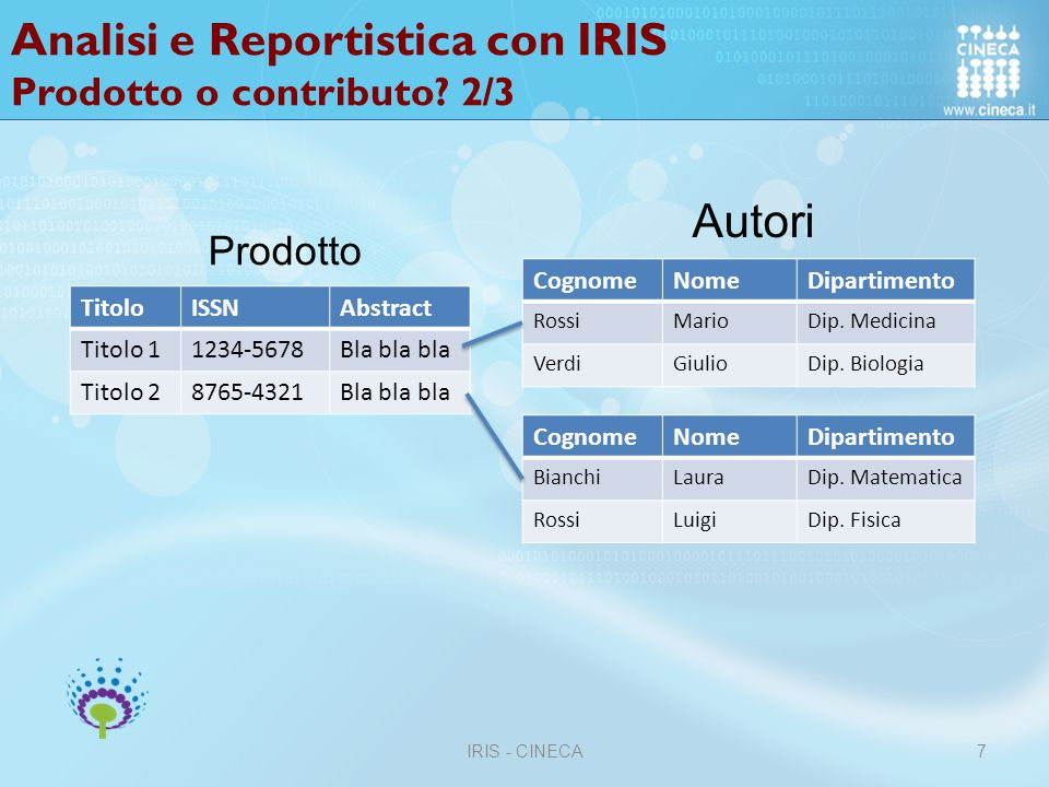 Analisi e Reportistica con IRIS Prodotto o contributo 2/3