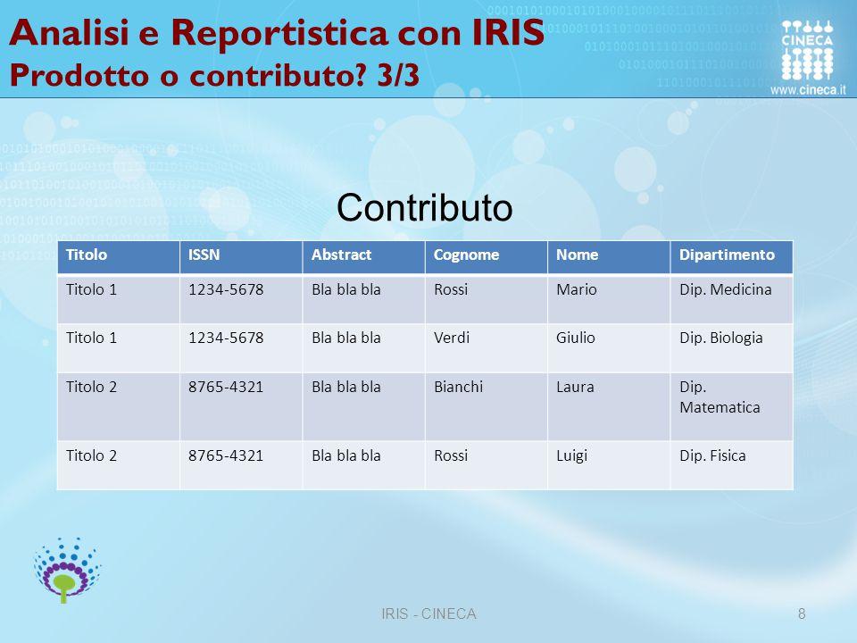 Analisi e Reportistica con IRIS Prodotto o contributo 3/3
