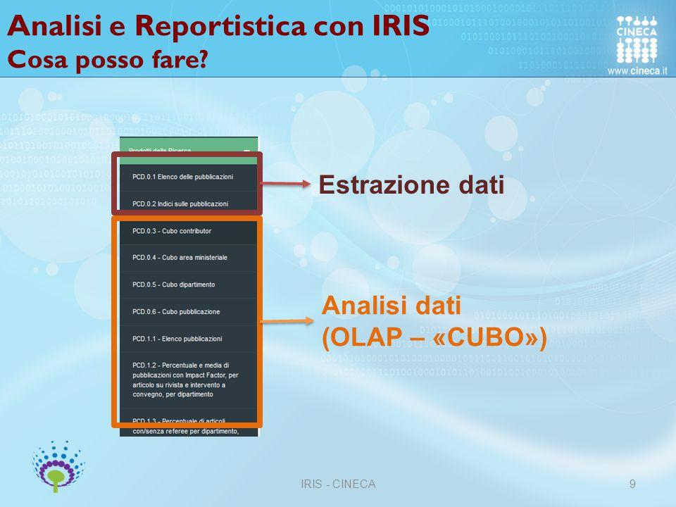 Analisi e Reportistica con IRIS Cosa posso fare
