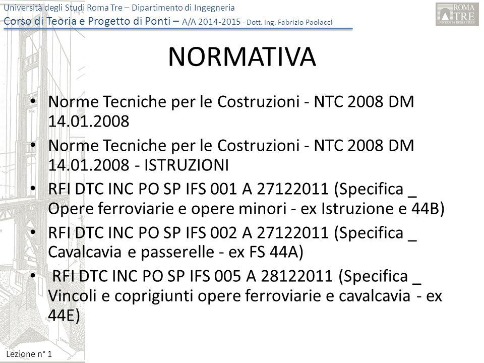 NORMATIVA Norme Tecniche per le Costruzioni - NTC 2008 DM 14.01.2008