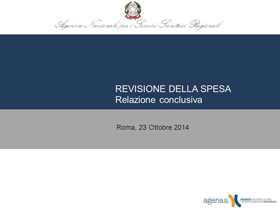 REVISIONE DELLA SPESA Relazione conclusiva Roma, 23 Ottobre 2014