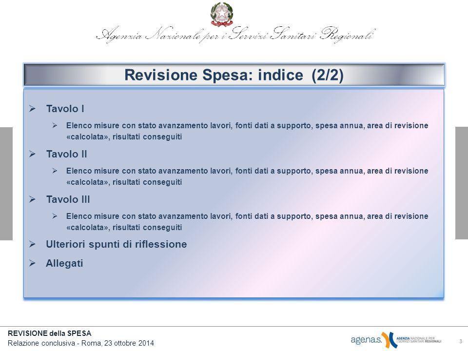 Revisione Spesa: indice (2/2)