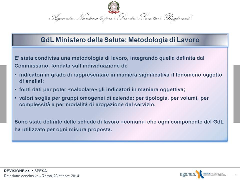 GdL Ministero della Salute: Metodologia di Lavoro