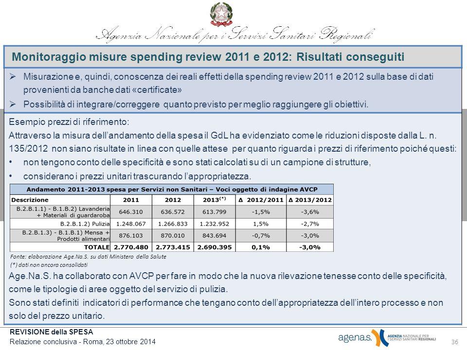 Monitoraggio misure spending review 2011 e 2012: Risultati conseguiti