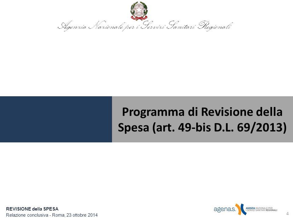 Programma di Revisione della Spesa (art. 49-bis D.L. 69/2013)