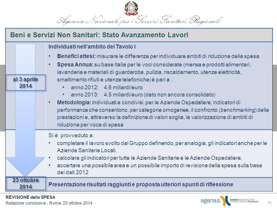 Beni e Servizi Non Sanitari: Stato Avanzamento Lavori