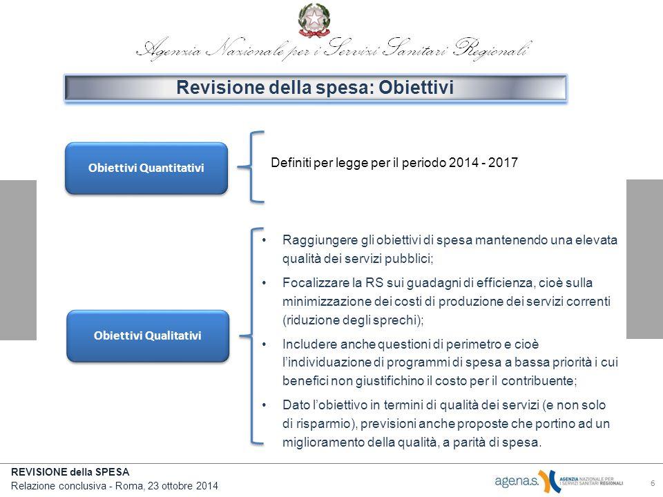 Revisione della spesa: Obiettivi