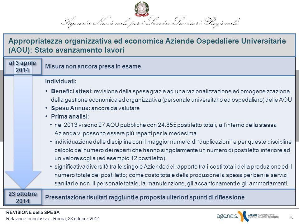 Appropriatezza organizzativa ed economica Aziende Ospedaliere Universitarie (AOU): Stato avanzamento lavori