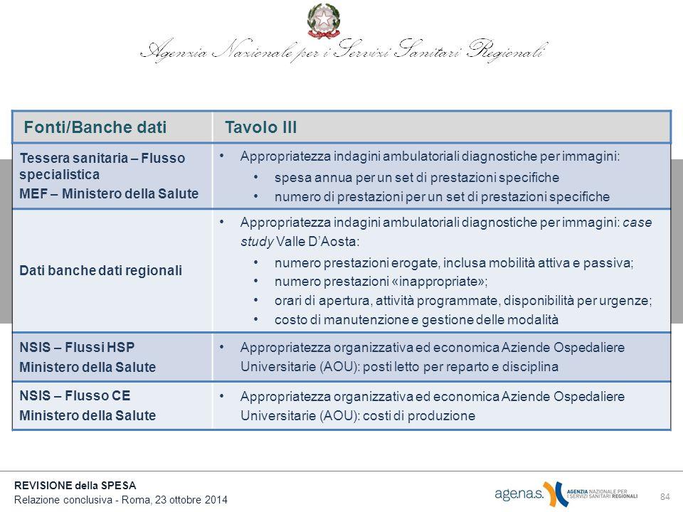 Fonti/Banche dati Tavolo III Tessera sanitaria – Flusso specialistica