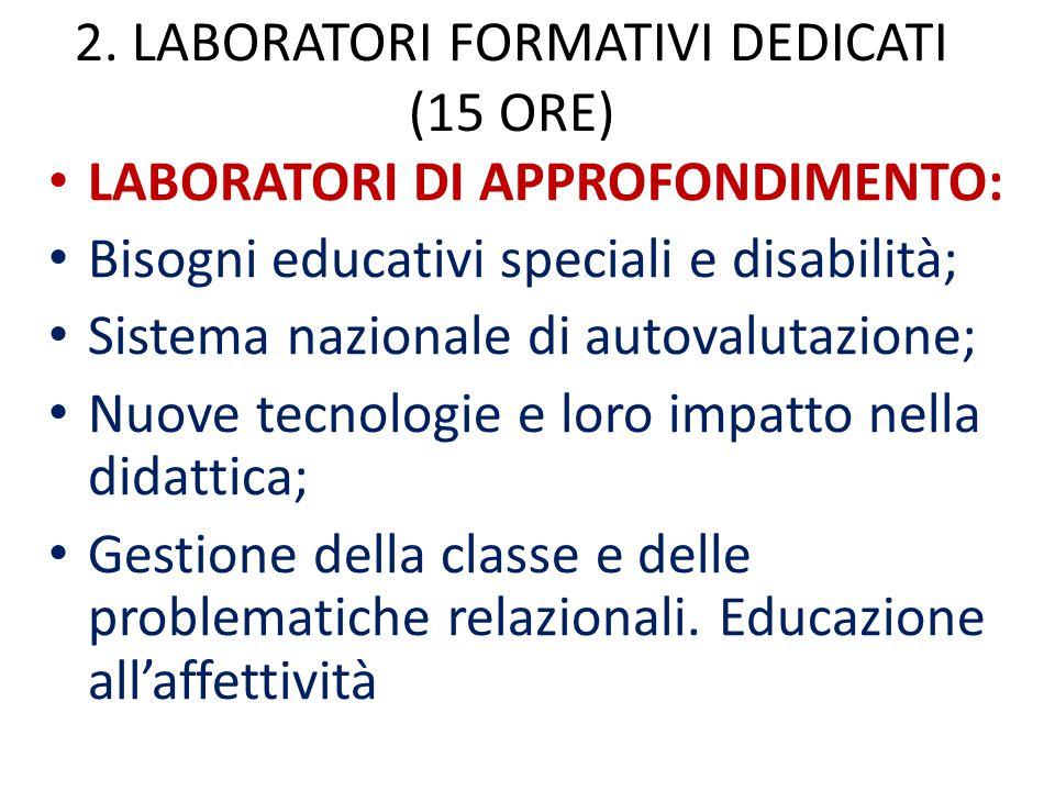 2. LABORATORI FORMATIVI DEDICATI (15 ORE)