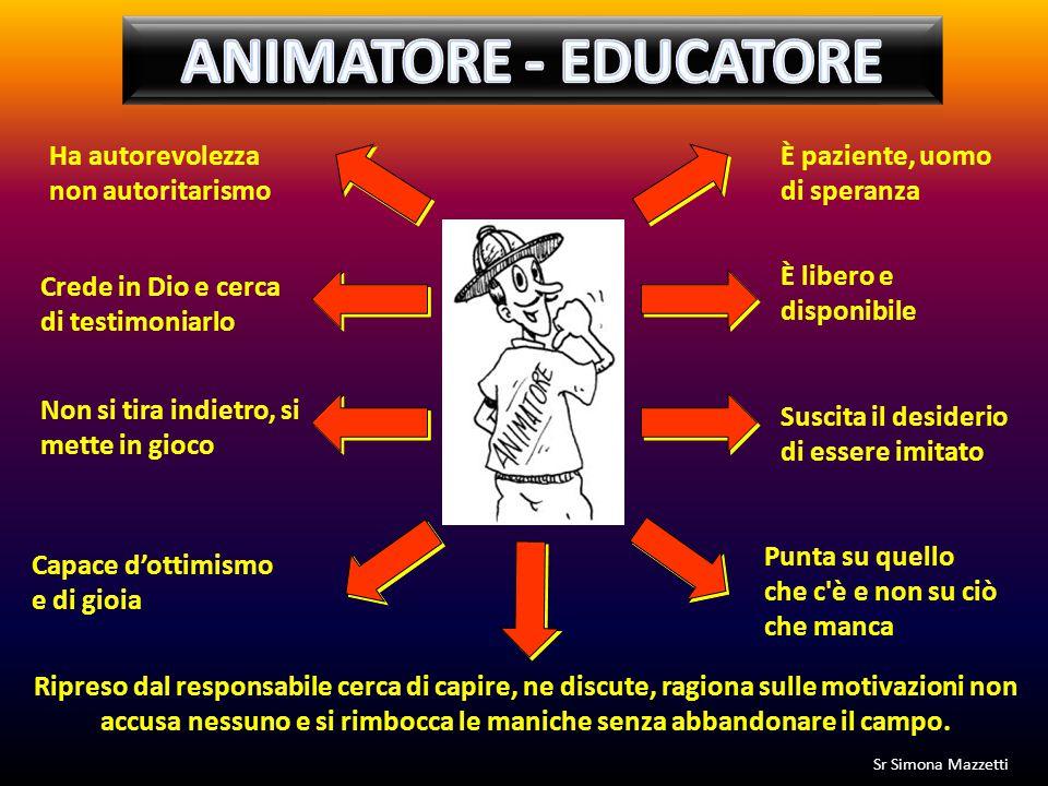 ANIMATORE - EDUCATORE Ha autorevolezza non autoritarismo