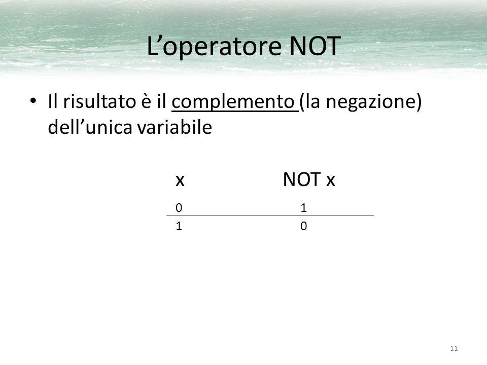 L'operatore NOT Il risultato è il complemento (la negazione) dell'unica variabile x NOT x 0 1 1 0.