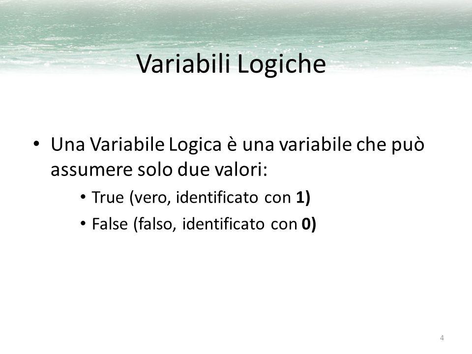 Variabili Logiche Una Variabile Logica è una variabile che può assumere solo due valori: True (vero, identificato con 1)