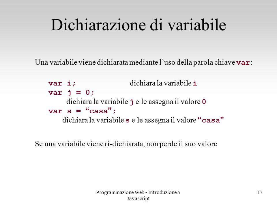 Dichiarazione di variabile