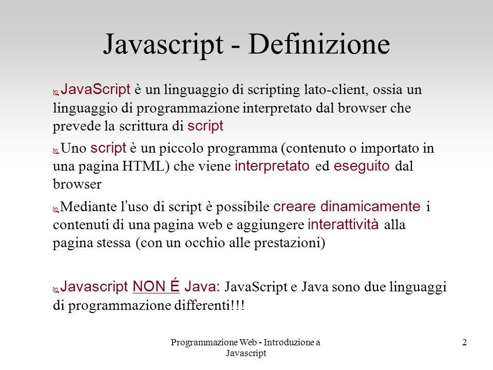 Javascript - Definizione