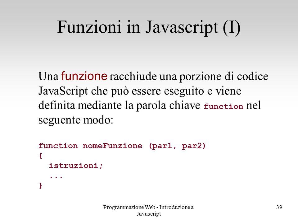 Funzioni in Javascript (I)