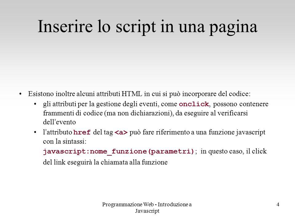 Inserire lo script in una pagina
