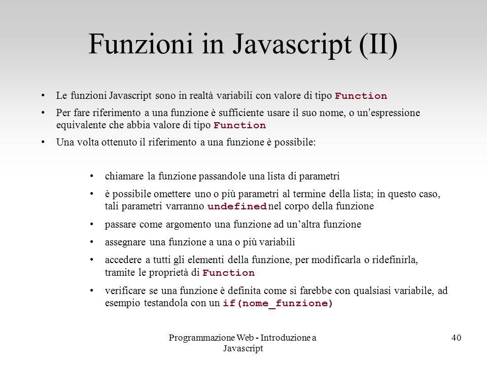 Funzioni in Javascript (II)