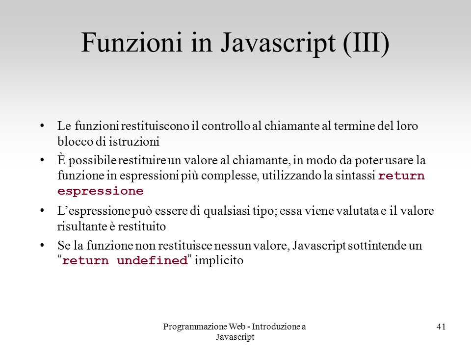 Funzioni in Javascript (III)