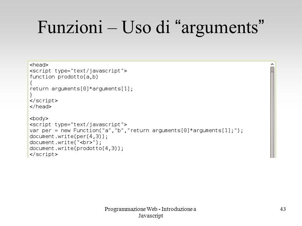 Funzioni – Uso di arguments