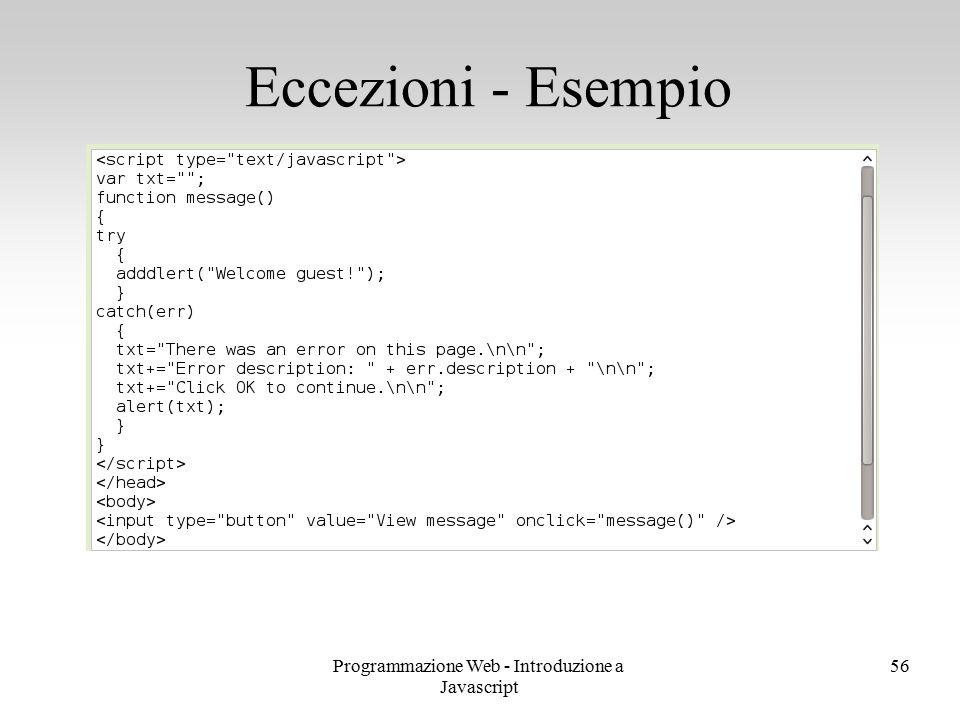 Programmazione Web - Introduzione a Javascript