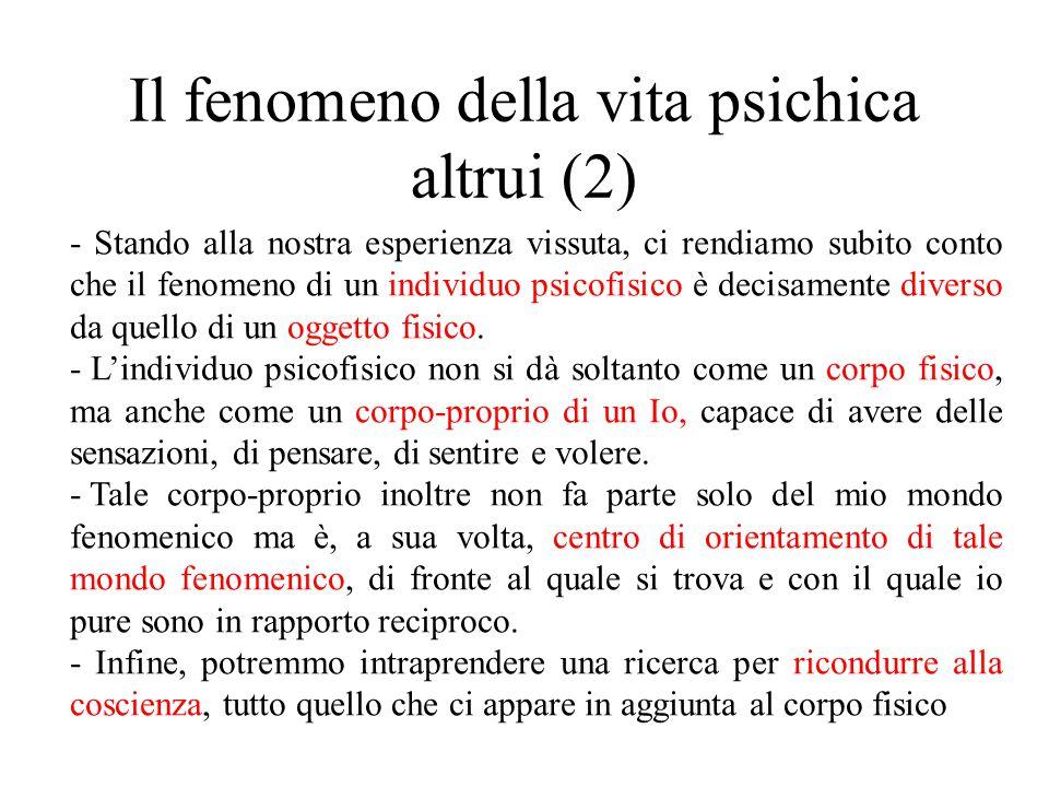 Il fenomeno della vita psichica altrui (2)