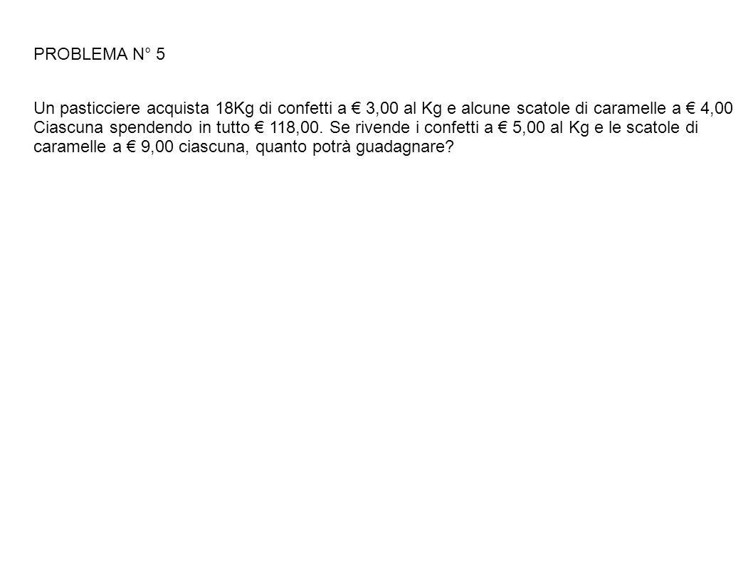 PROBLEMA N° 5 Un pasticciere acquista 18Kg di confetti a € 3,00 al Kg e alcune scatole di caramelle a € 4,00.