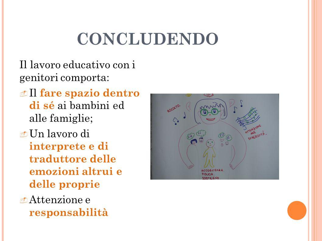 CONCLUDENDO Il lavoro educativo con i genitori comporta: