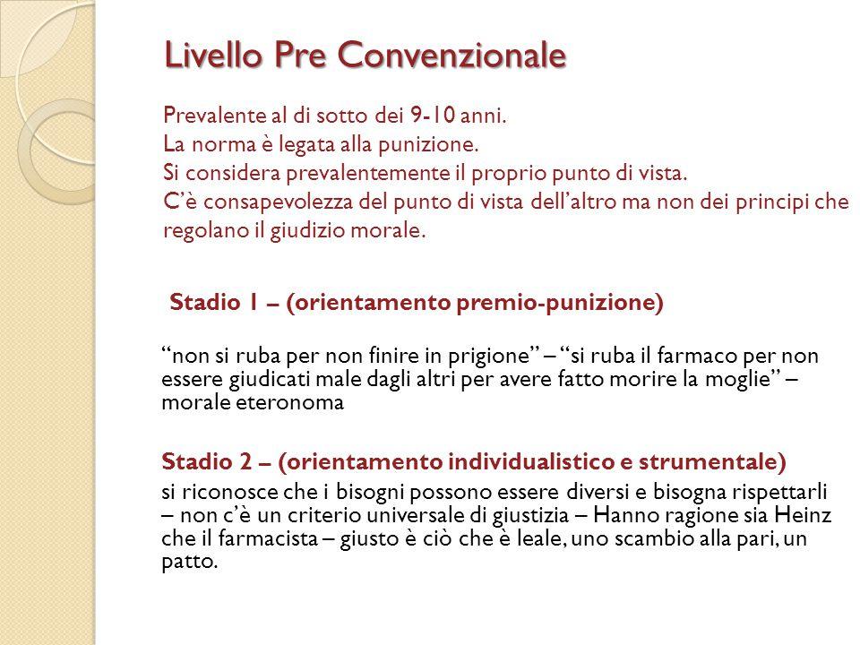 Livello Pre Convenzionale Prevalente al di sotto dei 9-10 anni