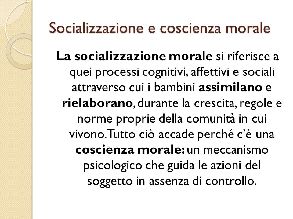 Socializzazione e coscienza morale