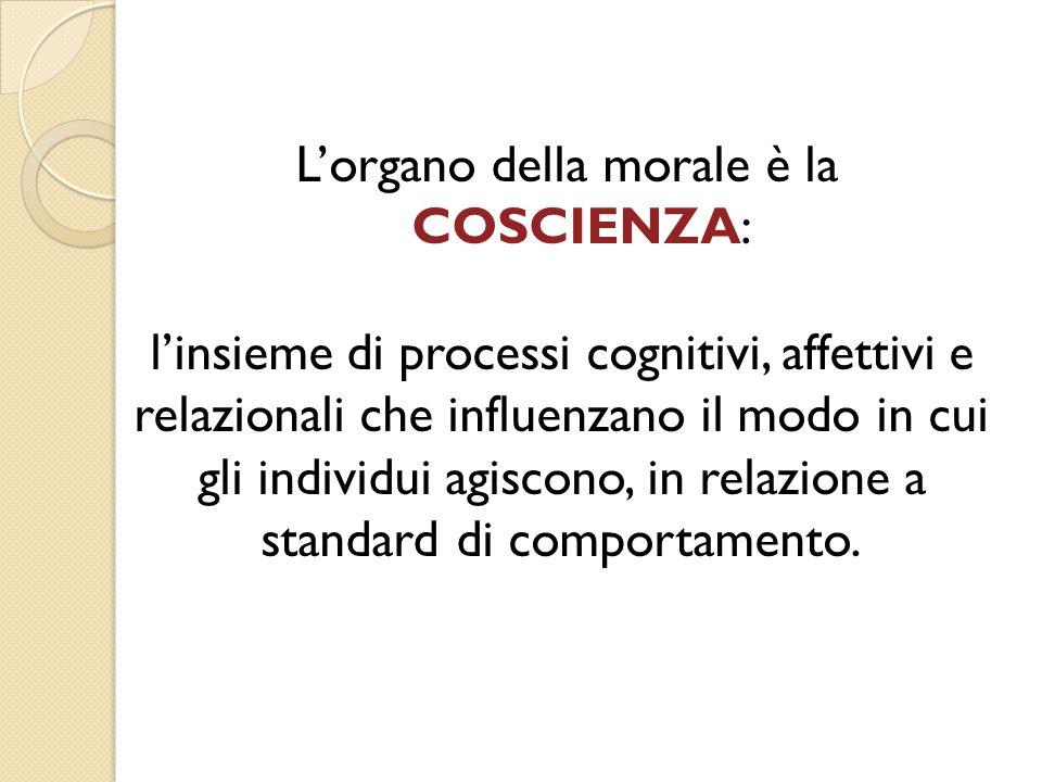 L'organo della morale è la COSCIENZA: l'insieme di processi cognitivi, affettivi e relazionali che influenzano il modo in cui gli individui agiscono, in relazione a standard di comportamento.