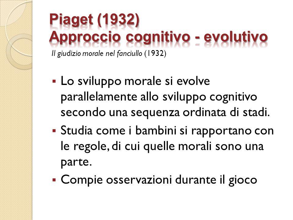 Piaget (1932) Approccio cognitivo - evolutivo