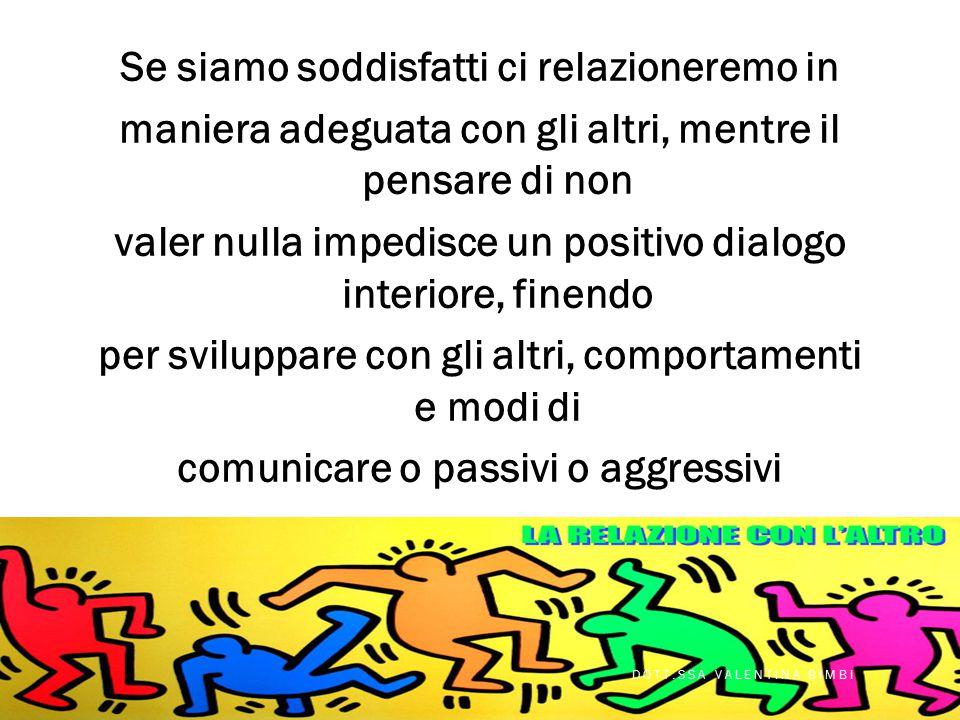Se siamo soddisfatti ci relazioneremo in maniera adeguata con gli altri, mentre il pensare di non valer nulla impedisce un positivo dialogo interiore, finendo per sviluppare con gli altri, comportamenti e modi di comunicare o passivi o aggressivi