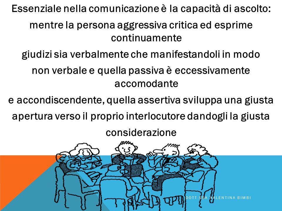 Essenziale nella comunicazione è la capacità di ascolto: mentre la persona aggressiva critica ed esprime continuamente giudizi sia verbalmente che manifestandoli in modo non verbale e quella passiva è eccessivamente accomodante e accondiscendente, quella assertiva sviluppa una giusta apertura verso il proprio interlocutore dandogli la giusta considerazione