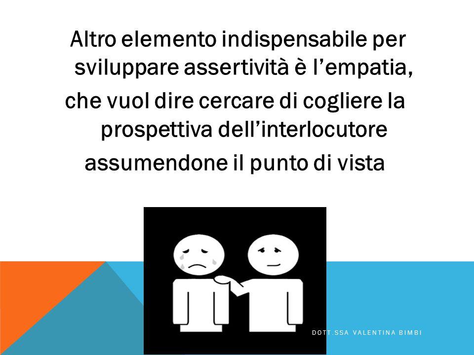 Altro elemento indispensabile per sviluppare assertività è l'empatia, che vuol dire cercare di cogliere la prospettiva dell'interlocutore assumendone il punto di vista