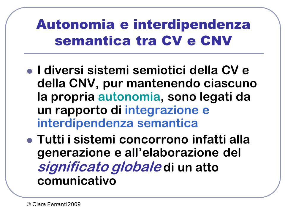 Autonomia e interdipendenza semantica tra CV e CNV
