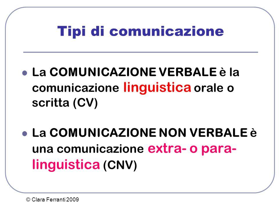 Tipi di comunicazione La COMUNICAZIONE VERBALE è la comunicazione linguistica orale o scritta (CV)