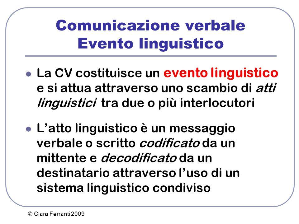 Comunicazione verbale Evento linguistico