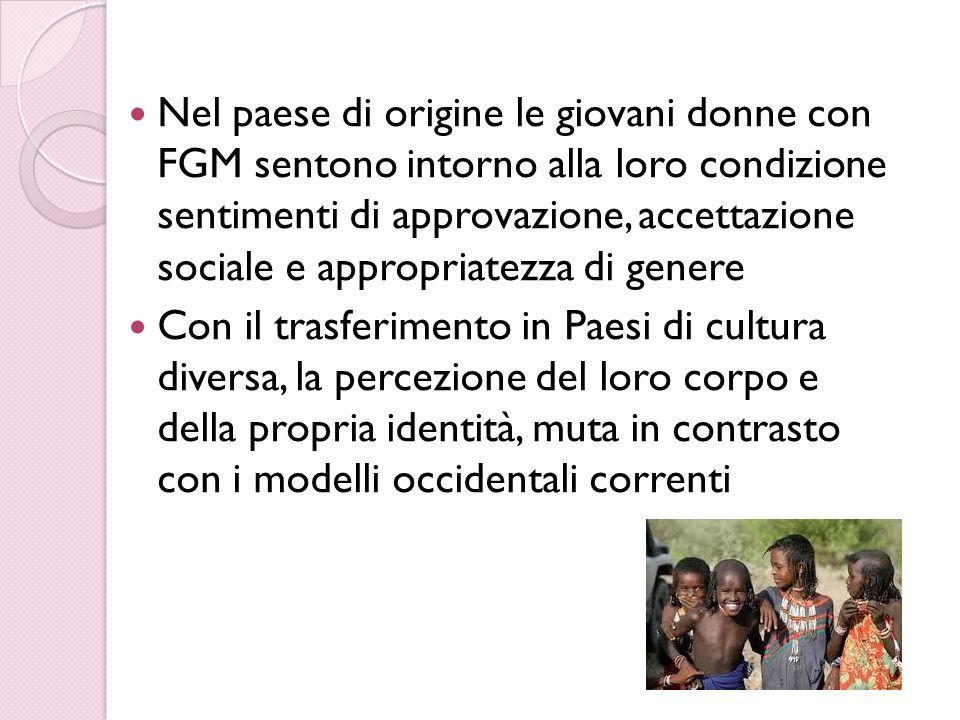 Nel paese di origine le giovani donne con FGM sentono intorno alla loro condizione sentimenti di approvazione, accettazione sociale e appropriatezza di genere