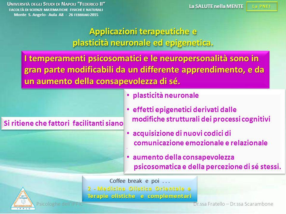Applicazioni terapeutiche e plasticità neuronale ed epigenetica.