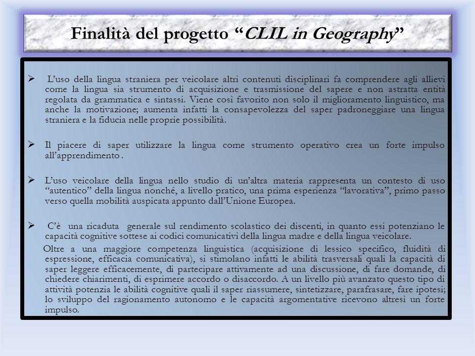 Finalità del progetto CLIL in Geography