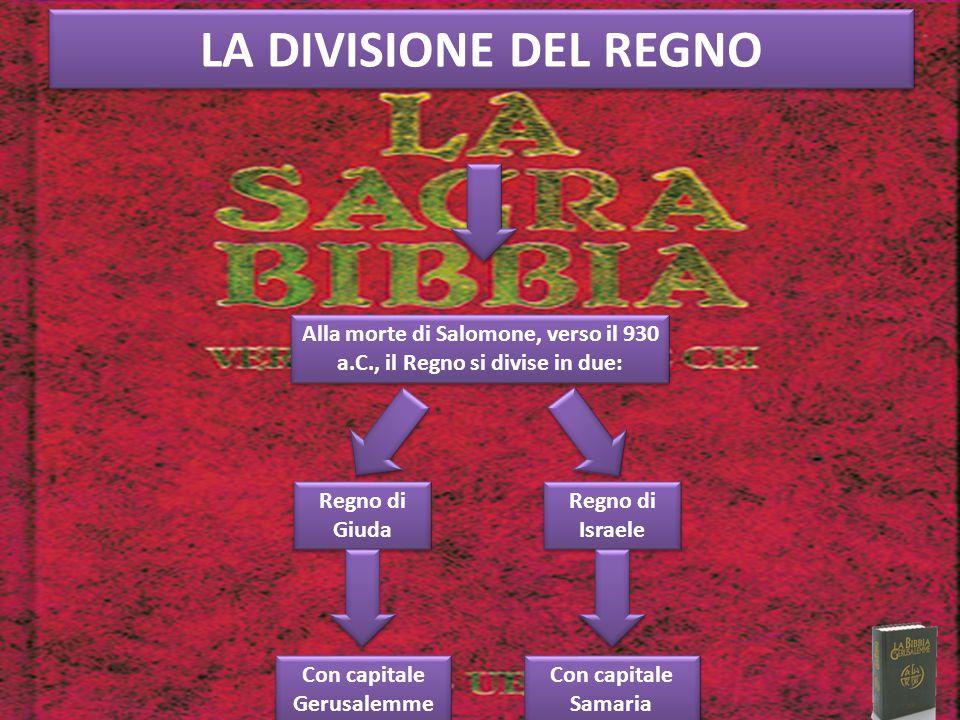 LA DIVISIONE DEL REGNO Alla morte di Salomone, verso il 930 a.C., il Regno si divise in due: Regno di Giuda.