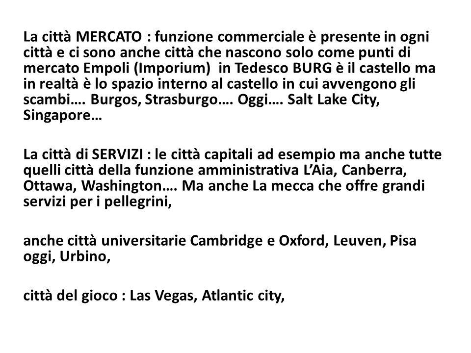 La città MERCATO : funzione commerciale è presente in ogni città e ci sono anche città che nascono solo come punti di mercato Empoli (Imporium) in Tedesco BURG è il castello ma in realtà è lo spazio interno al castello in cui avvengono gli scambi…. Burgos, Strasburgo…. Oggi…. Salt Lake City, Singapore…
