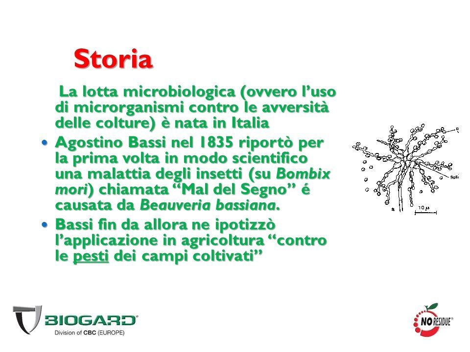 Storia La lotta microbiologica (ovvero l'uso di microrganismi contro le avversità delle colture) è nata in Italia.