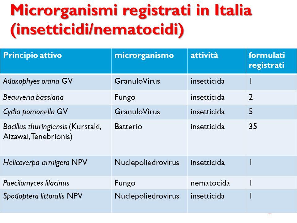 Microrganismi registrati in Italia (insetticidi/nematocidi)