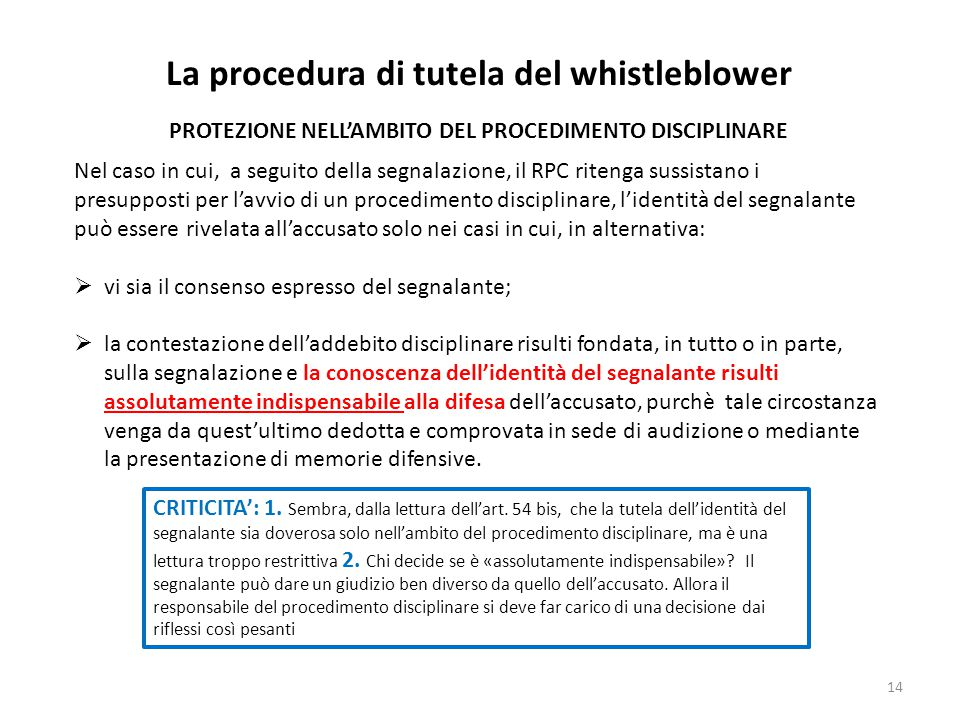 La procedura di tutela del whistleblower
